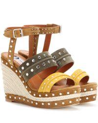 Lanvin | Brown Shia Embellished Suede Sandals | Lyst