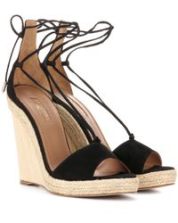 Aquazzura - Black Alexa Suede Wedge Sandals - Lyst