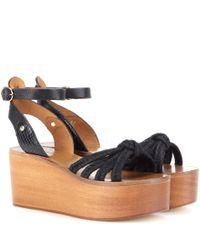 Isabel Marant - Blue Toile Zia Leather Platform Sandals - Lyst