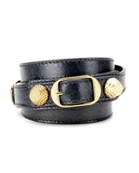 Balenciaga | Gray Giant Leather Bracelet | Lyst