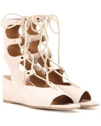 Chloé | Brown Foster Suede Gladiator Wedge Sandals | Lyst