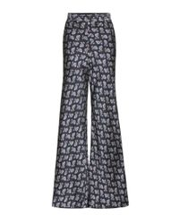 Etro - Black Paisley Flared Satin Trousers - Lyst
