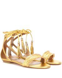 Aquazzura - Sun Valley Metallic Leather Sandals - Lyst
