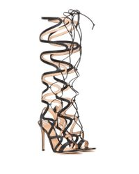Gianvito Rossi - Black Leather Lace-up Sandals - Lyst