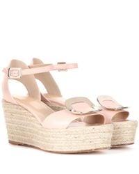 Roger Vivier | Pink Corda Chips Leather Espadrille Wedge Sandals | Lyst