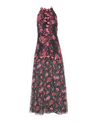 Giamba - Black Printed Silk Dress With Appliqué - Lyst