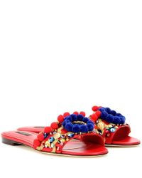 Dolce & Gabbana | Red Embellished-Leather Sandals | Lyst