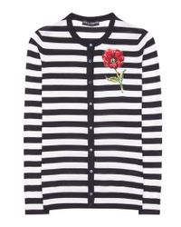 Dolce & Gabbana - Black Striped Cashmere And Wool Cardigan - Lyst