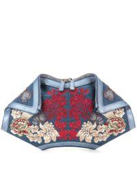 Alexander McQueen - Blue De Manta Embroidered Denim Clutch - Lyst