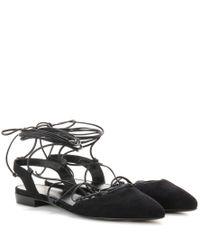 Saint Laurent - Black Paris Suede Lace-up Sandals - Lyst