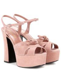 Saint Laurent - Pink Candy 80 Suede Platform Sandals - Lyst