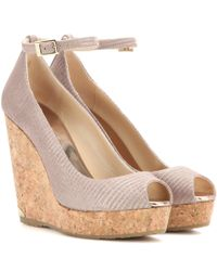 Jimmy Choo | Pink Pacific 120 Leather Wedge Sandals | Lyst