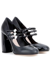 Miu Miu | Black Embellished Patent Leather Pumps | Lyst