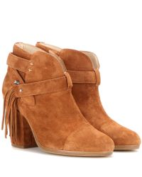Rag & Bone | Brown Harrow Fringed Suede Ankle Boots | Lyst