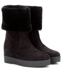 Ferragamo - Black Falcon Suede Concealed-wedge Boots - Lyst