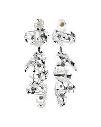 Christopher Kane - White Crystal-embellished Transparant Earrings - Lyst