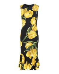 Dolce & Gabbana | Yellow Printed Silk Dress | Lyst