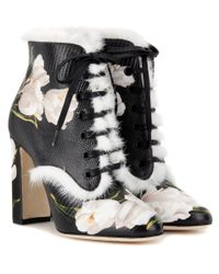 Dolce & Gabbana | Multicolor Fur-trimmed Printed Leather Ankle Boots | Lyst