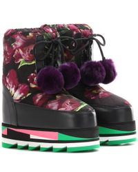 Dolce & Gabbana | Multicolor Floral-printed Platform Boots With Fur | Lyst