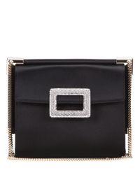 Roger Vivier   Miss Viv' Mini Black Satin Shoulder Bag   Lyst