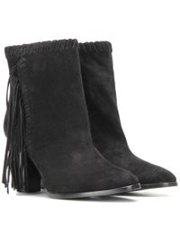 Polo Ralph Lauren | Black Sade Fringed Suede Ankle Boots | Lyst