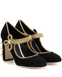 Dolce & Gabbana | Black Embellished Suede Pumps | Lyst