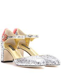 Dolce & Gabbana - Metallic Mink Fur-trimmed Glitter Pumps - Lyst