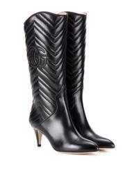 Gucci   Black Matelassé Leather Boots   Lyst