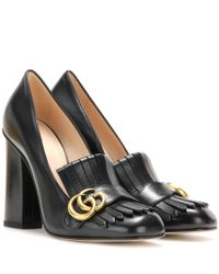 Gucci | Black Leather Loafer Pumps | Lyst