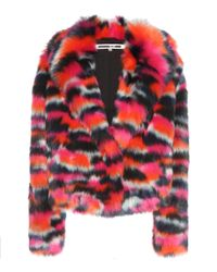McQ - Red Faux Fur Jacket - Lyst