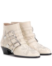 Chloé   Natural Susanna Studded Leather Ankle Boots   Lyst
