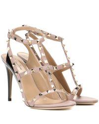 Valentino   Pink Garavani Rockstud Leather Sandals   Lyst