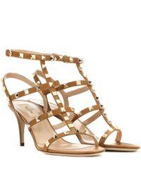 Valentino - Brown Garavani Rockstud Leather Sandals - Lyst