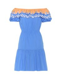 Peter Pilotto | Blue Pallas Embroidered Cotton Off-the-shoulder Dress | Lyst