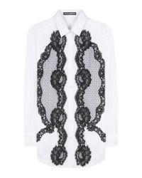 Dolce & Gabbana   Black Lace-panelled Cotton Shirt   Lyst
