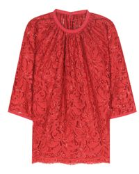 Dolce & Gabbana - Red Lace Top - Lyst