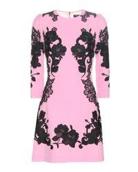Dolce & Gabbana | Pink Wool-crêpe Dress With Lace | Lyst