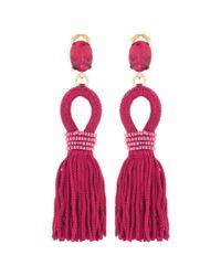 Oscar de la Renta - Multicolor Embellished Tassel Clip-on Earrings - Lyst
