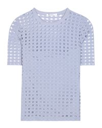 T By Alexander Wang - Blue Perforated Jersey Top - Lyst