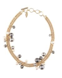 Lanvin | Metallic Pale Gold-tone Chain With Faux Pearls Necklace | Lyst