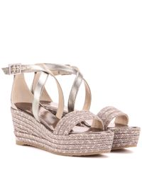 Jimmy Choo | Multicolor Portia 70 Wedge Sandals | Lyst