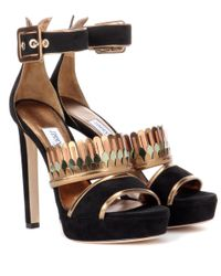 Jimmy Choo | Black Kathleen 130 Embellished Suede Sandals | Lyst