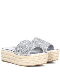 Miu Miu   Multicolor Glitter Platform Sandals   Lyst