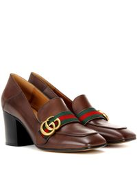 Gucci | Brown Leather Loafer Pumps | Lyst