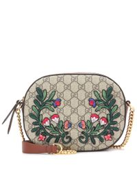 Gucci | Multicolor Gg Embroidered Coated Canvas And Leather Shoulder Bag | Lyst