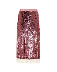 Tory Burch   Red Cove Sequinned Skirt   Lyst