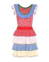 Alexander McQueen - Red Wool And Silk Dress - Lyst