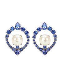 Miu Miu   Blue Crystal Clip-on Earrings   Lyst