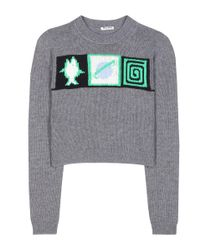 Miu Miu - Gray Cropped Cashmere Sweater - Lyst