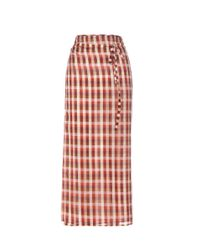 Miu Miu | Red Plaid Cotton Wrap Skirt | Lyst